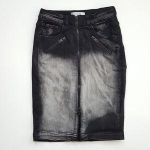 Guess distressed denim pencil skirt